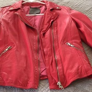 Muubaa pink leather moto jacket